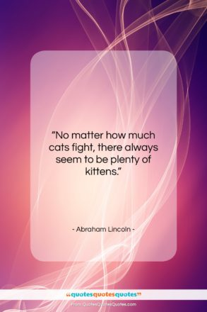 """Abraham Lincoln quote: """"No matter how much cats fight, there…""""- at QuotesQuotesQuotes.com"""