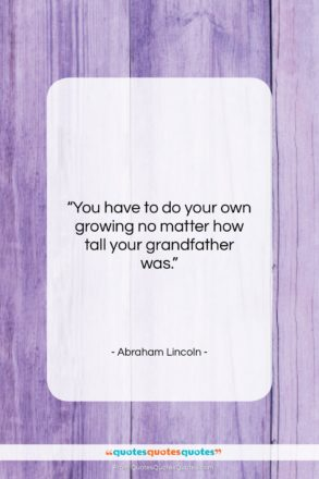 "Abraham Lincoln quote: ""You have to do your own growing…""- at QuotesQuotesQuotes.com"