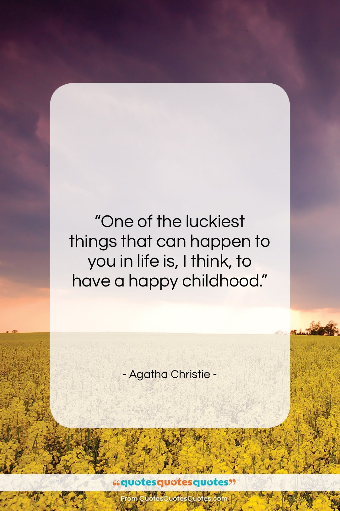 """Agatha Christie quote: """"One of the luckiest things that can…""""- at QuotesQuotesQuotes.com"""