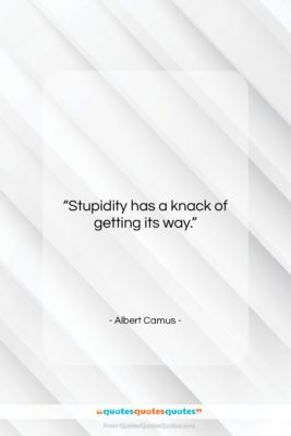 """Albert Camus quote: """"Stupidity has a knack of getting its…""""- at QuotesQuotesQuotes.com"""