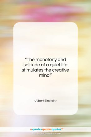 "Albert Einstein quote: ""The monotony and solitude of a quiet…""- at QuotesQuotesQuotes.com"