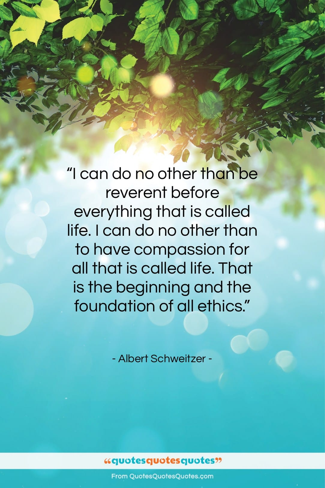 """Albert Schweitzer quote: """"I can do no other than be…""""- at QuotesQuotesQuotes.com"""