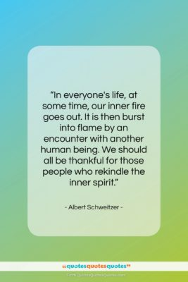 """Albert Schweitzer quote: """"In everyone's life, at some time, our…""""- at QuotesQuotesQuotes.com"""