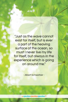 """Albert Schweitzer quote: """"Just as the wave cannot exist for…""""- at QuotesQuotesQuotes.com"""