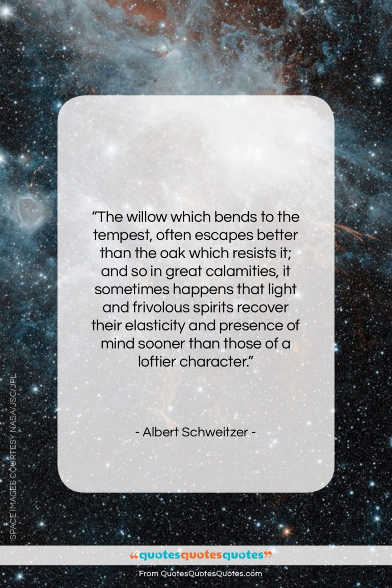 """Albert Schweitzer quote: """"The willow which bends to the tempest…""""- at QuotesQuotesQuotes.com"""