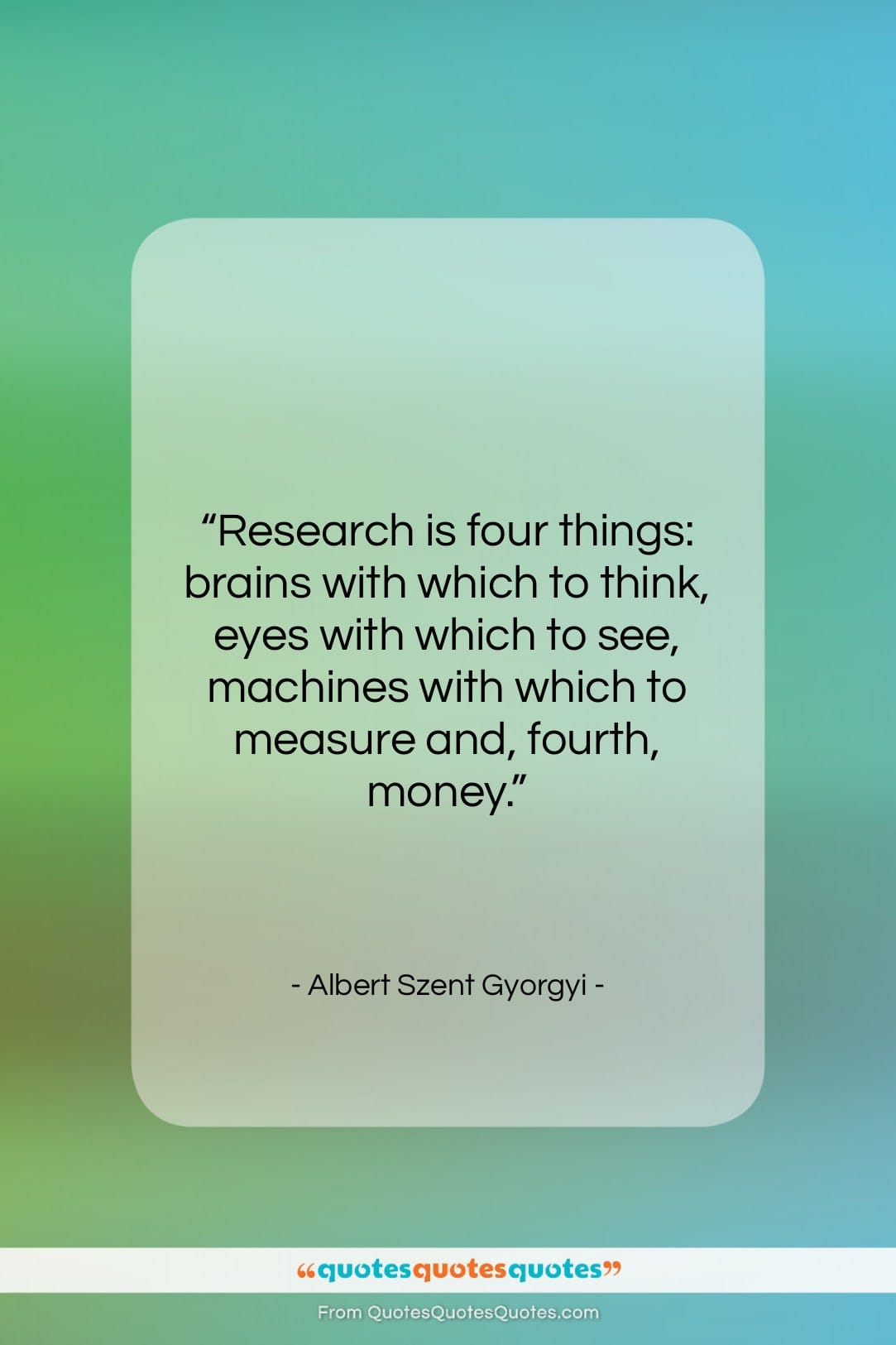 """Albert Szent Gyorgyi quote: """"Research is four things: brains with which…""""- at QuotesQuotesQuotes.com"""