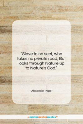 """Alexander Pope quote: """"Slave to no sect, who takes no…""""- at QuotesQuotesQuotes.com"""