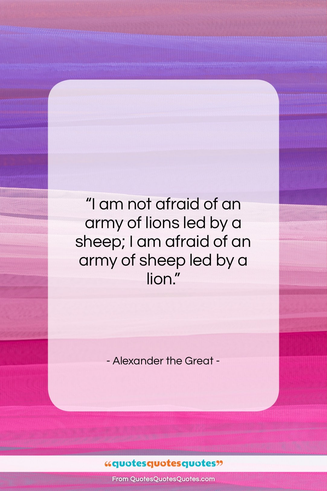 """Alexander the Great quote: """"I am not afraid of an army…""""- at QuotesQuotesQuotes.com"""