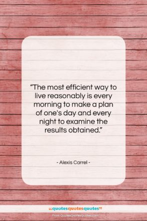 """Alexis Carrel quote: """"The most efficient way to live reasonably…""""- at QuotesQuotesQuotes.com"""