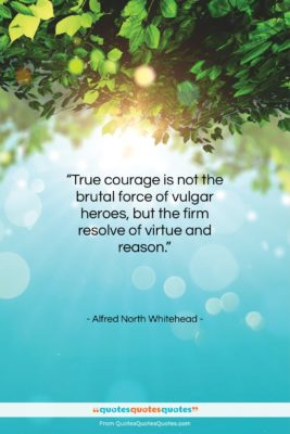 """Alfred North Whitehead quote: """"True courage is not the brutal force…""""- at QuotesQuotesQuotes.com"""
