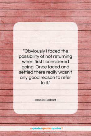 """Amelia Earhart quote: """"Obviously I faced the possibility of not…""""- at QuotesQuotesQuotes.com"""
