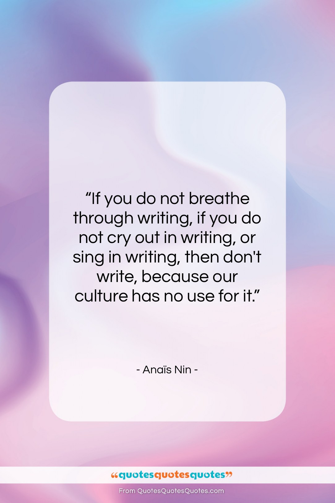 """Anaïs Nin quote: """"If you do not breathe through writing,…""""- at QuotesQuotesQuotes.com"""
