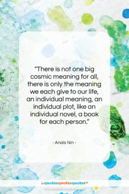"""Anaïs Nin quote: """"There is not one big cosmic meaning…""""- at QuotesQuotesQuotes.com"""