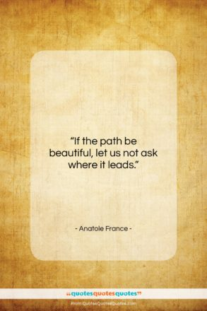 """Anatole France quote: """"If the path be beautiful, let us…""""- at QuotesQuotesQuotes.com"""