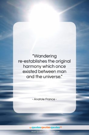 """Anatole France quote: """"Wandering re-establishes the original harmony which once…""""- at QuotesQuotesQuotes.com"""