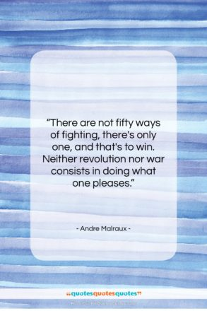 """Andre Malraux quote: """"There are not fifty ways of fighting,…""""- at QuotesQuotesQuotes.com"""