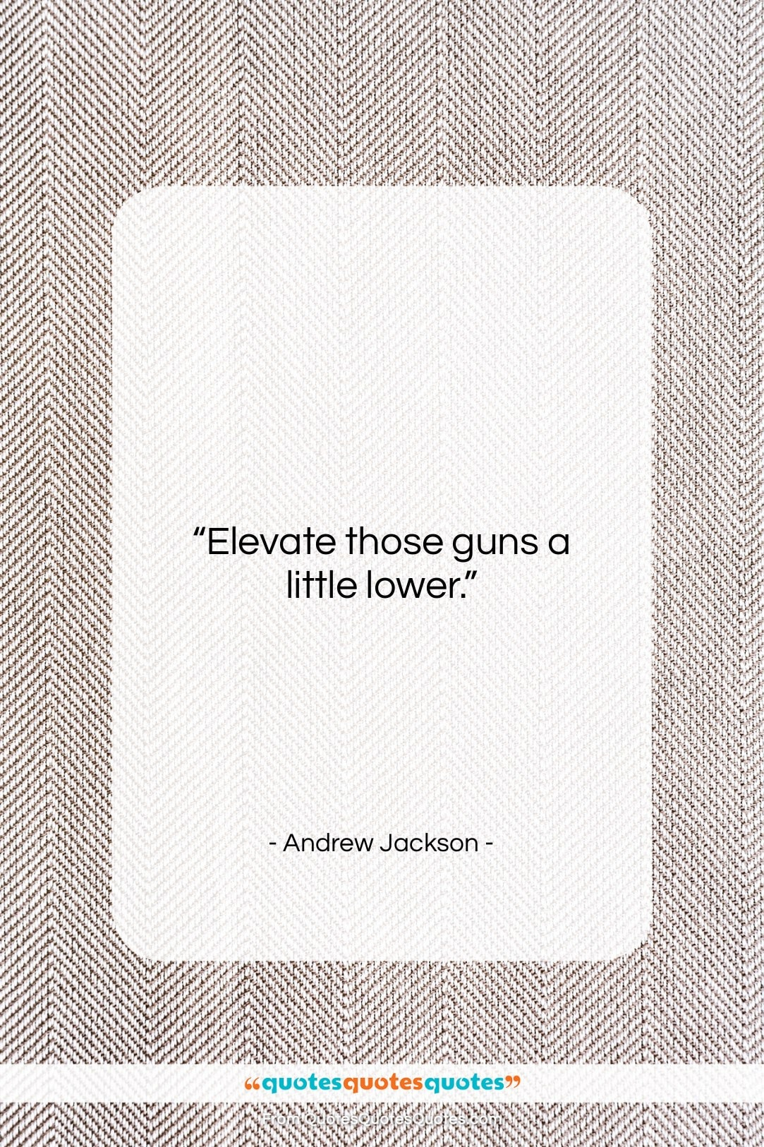 "Andrew Jackson quote: ""Elevate those guns a little lower….""- at QuotesQuotesQuotes.com"