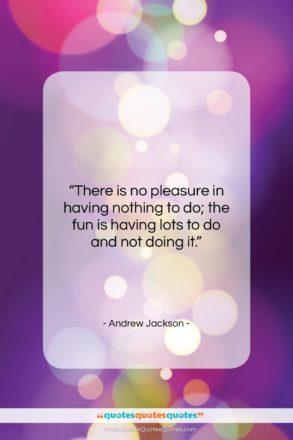 """Andrew Jackson quote: """"There is no pleasure in having nothing…""""- at QuotesQuotesQuotes.com"""