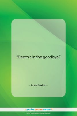 """Anne Sexton quote: """"Death's in the good-bye….""""- at QuotesQuotesQuotes.com"""