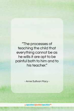"""Anne Sullivan Macy quote: """"The processes of teaching the child that…""""- at QuotesQuotesQuotes.com"""