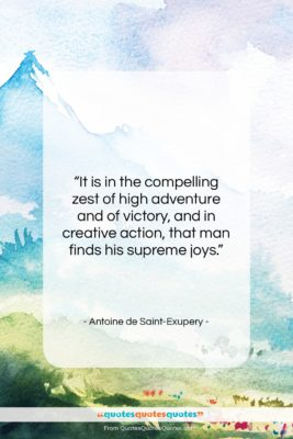 """Antoine de Saint-Exupery quote: """"It is in the compelling zest of…""""- at QuotesQuotesQuotes.com"""