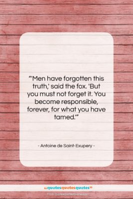 "Antoine de Saint-Exupery quote: ""'Men have forgotten this truth,' said the…""- at QuotesQuotesQuotes.com"