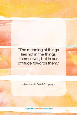 """Antoine de Saint-Exupery quote: """"The meaning of things lies not in…""""- at QuotesQuotesQuotes.com"""