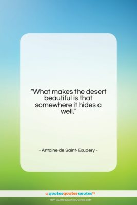 """Antoine de Saint-Exupery quote: """"What makes the desert beautiful is that…""""- at QuotesQuotesQuotes.com"""