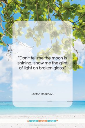 """Anton Chekhov quote: """"Don't tell me the moon is shining;…""""- at QuotesQuotesQuotes.com"""