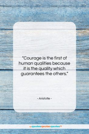 """Aristotle quote: """"Courage is the first of human qualities…""""- at QuotesQuotesQuotes.com"""