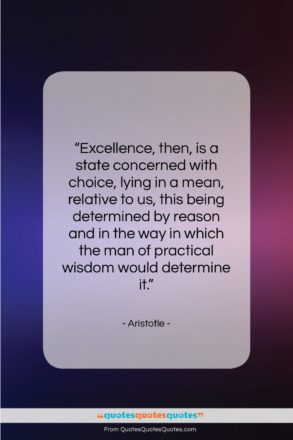 """Aristotle quote: """"Excellence, then, is a state concerned with…""""- at QuotesQuotesQuotes.com"""