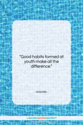 """Aristotle quote: """"Good habits formed at youth make all…""""- at QuotesQuotesQuotes.com"""