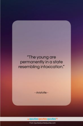 """Aristotle quote: """"The young are permanently in a state…""""- at QuotesQuotesQuotes.com"""