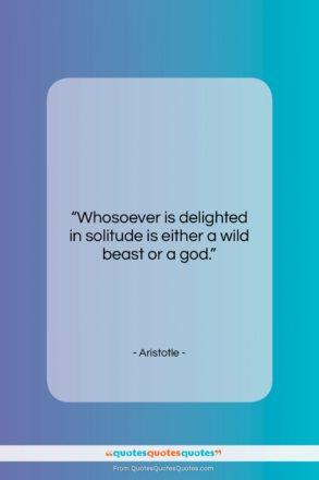 """Aristotle quote: """"Whosoever is delighted in solitude is either…""""- at QuotesQuotesQuotes.com"""