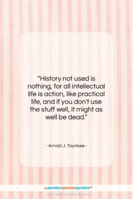 """Arnold J. Toynbee quote: """"History not used is nothing, for all…""""- at QuotesQuotesQuotes.com"""