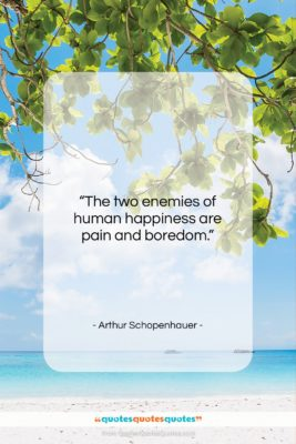 """Arthur Schopenhauer quote: """"The two enemies of human happiness are…""""- at QuotesQuotesQuotes.com"""