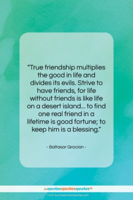 """Baltasar Gracian quote: """"True friendship multiplies the good in life…""""- at QuotesQuotesQuotes.com"""