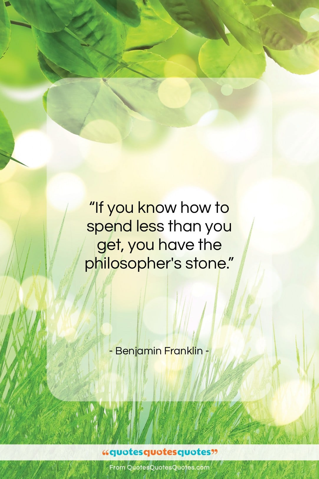"""Benjamin Franklin quote: """"If you know how to spend less…""""- at QuotesQuotesQuotes.com"""