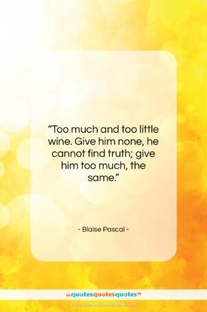 """Blaise Pascal quote: """"Too much and too little wine. Give…""""- at QuotesQuotesQuotes.com"""