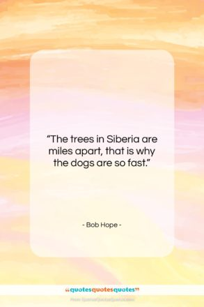 """Bob Hope quote: """"The trees in Siberia are miles apart,…""""- at QuotesQuotesQuotes.com"""