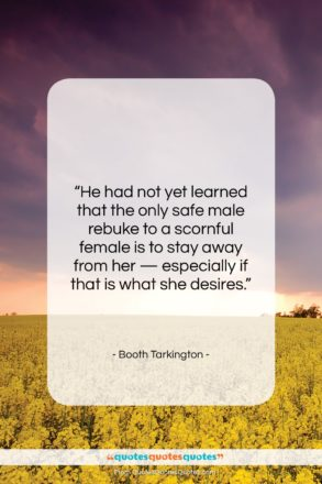 """Booth Tarkington quote: """"He had not yet learned that the…""""- at QuotesQuotesQuotes.com"""