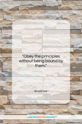"""Bruce Lee quote: """"Obey the principles without being bound by…""""- at QuotesQuotesQuotes.com"""