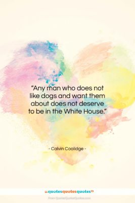 """Calvin Coolidge quote: """"Any man who does not like dogs…""""- at QuotesQuotesQuotes.com"""