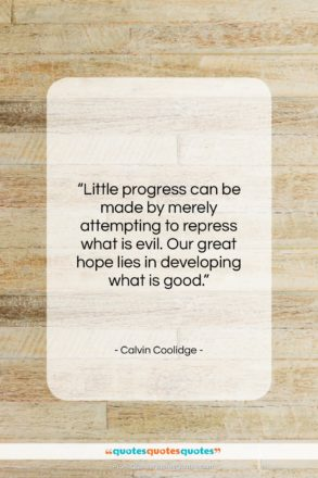 """Calvin Coolidge quote: """"Little progress can be made by merely…""""- at QuotesQuotesQuotes.com"""