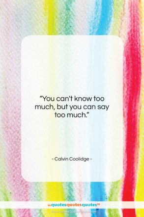 """Calvin Coolidge quote: """"You can't know too much, but you…""""- at QuotesQuotesQuotes.com"""