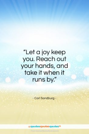 "Carl Sandburg quote: ""Let a joy keep you. Reach out…""- at QuotesQuotesQuotes.com"