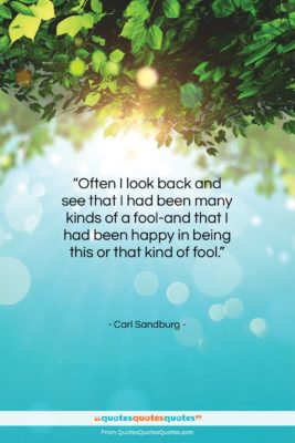 """Carl Sandburg quote: """"Often I look back and see that…""""- at QuotesQuotesQuotes.com"""
