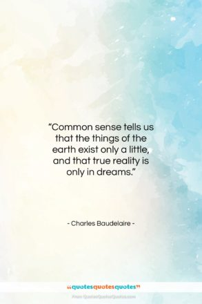 """Charles Baudelaire quote: """"Common sense tells us that the things…""""- at QuotesQuotesQuotes.com"""