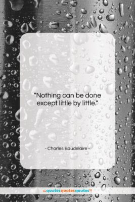 "Charles Baudelaire quote: ""Nothing can be done except little by…""- at QuotesQuotesQuotes.com"