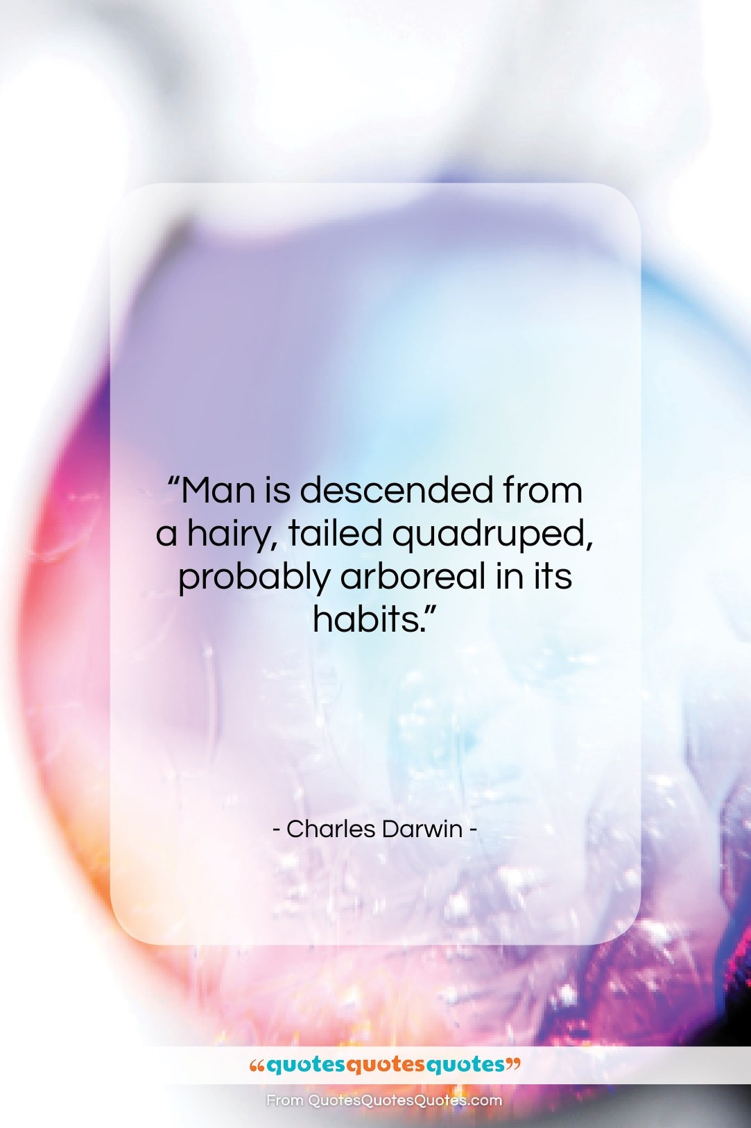 """Charles Darwin quote: """"Man is descended from a hairy, tailed…""""- at QuotesQuotesQuotes.com"""